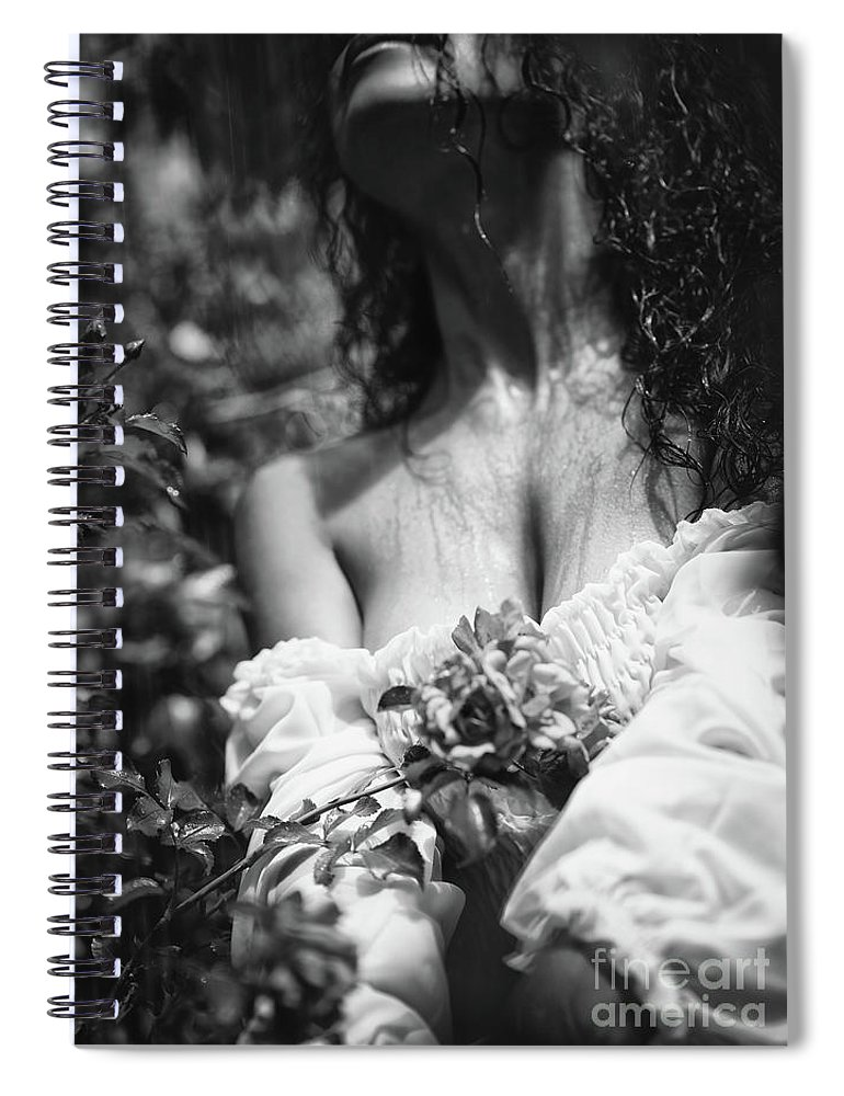 Sensual spiral notebook featuring the photograph sensual artistic black and white photo of beautiful woman with