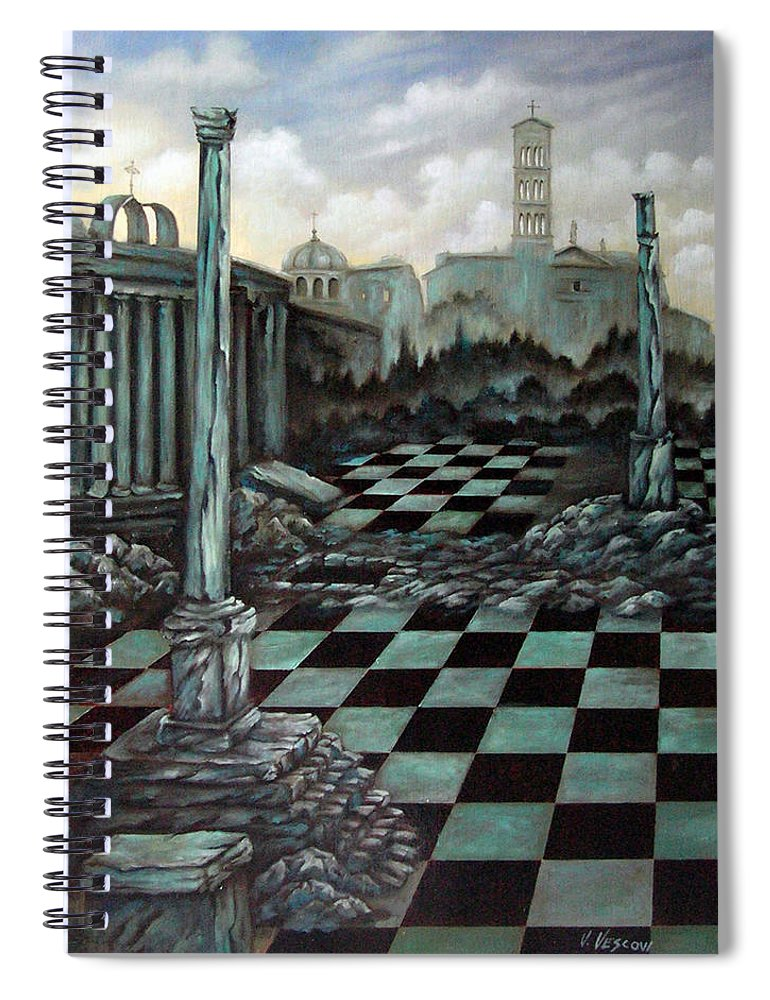 Surreal Spiral Notebook featuring the painting Sepulchre by Valerie Vescovi