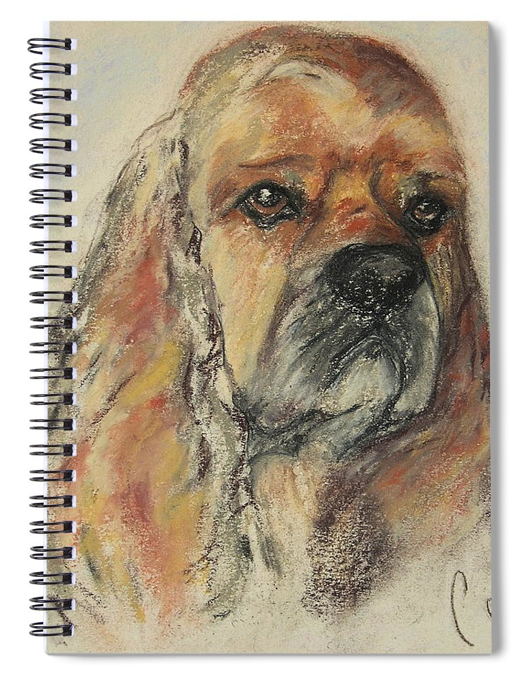 Dog Spiral Notebook featuring the drawing Serious Intent by Cori Solomon