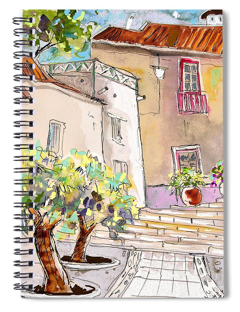 Portugal Paintings Spiral Notebook featuring the painting Serpa Portugal 36 by Miki De Goodaboom