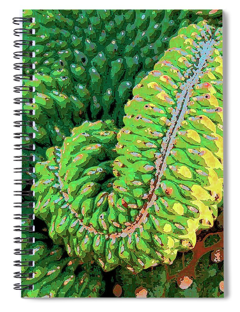 Cactus Spiral Notebook featuring the mixed media Serpentine by Dominic Piperata