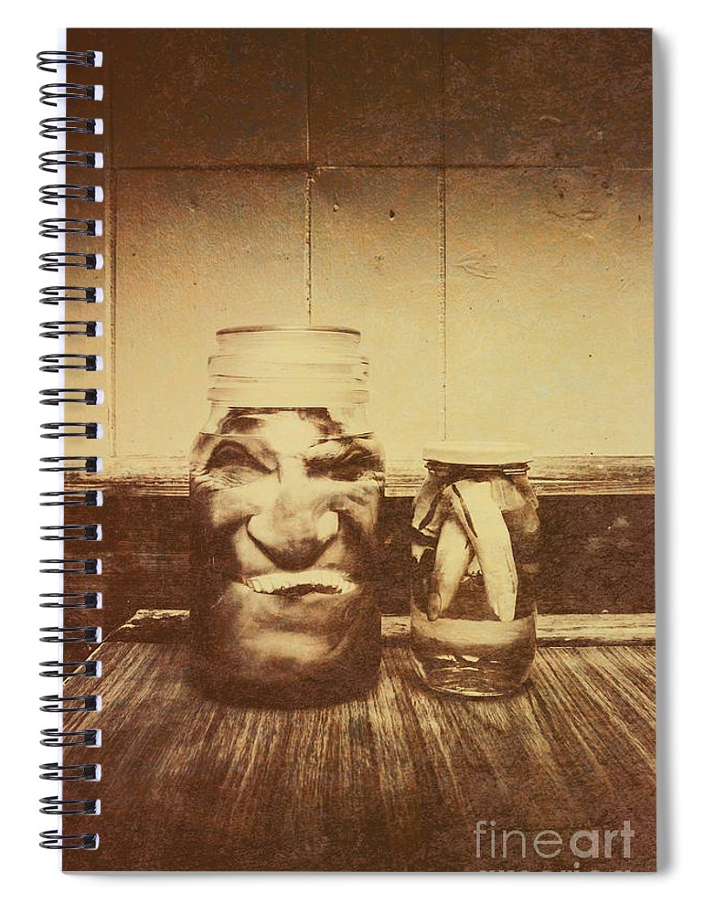 Monster Spiral Notebook featuring the photograph Severed And Preserved Head And Hand In Jars by Jorgo Photography - Wall Art Gallery