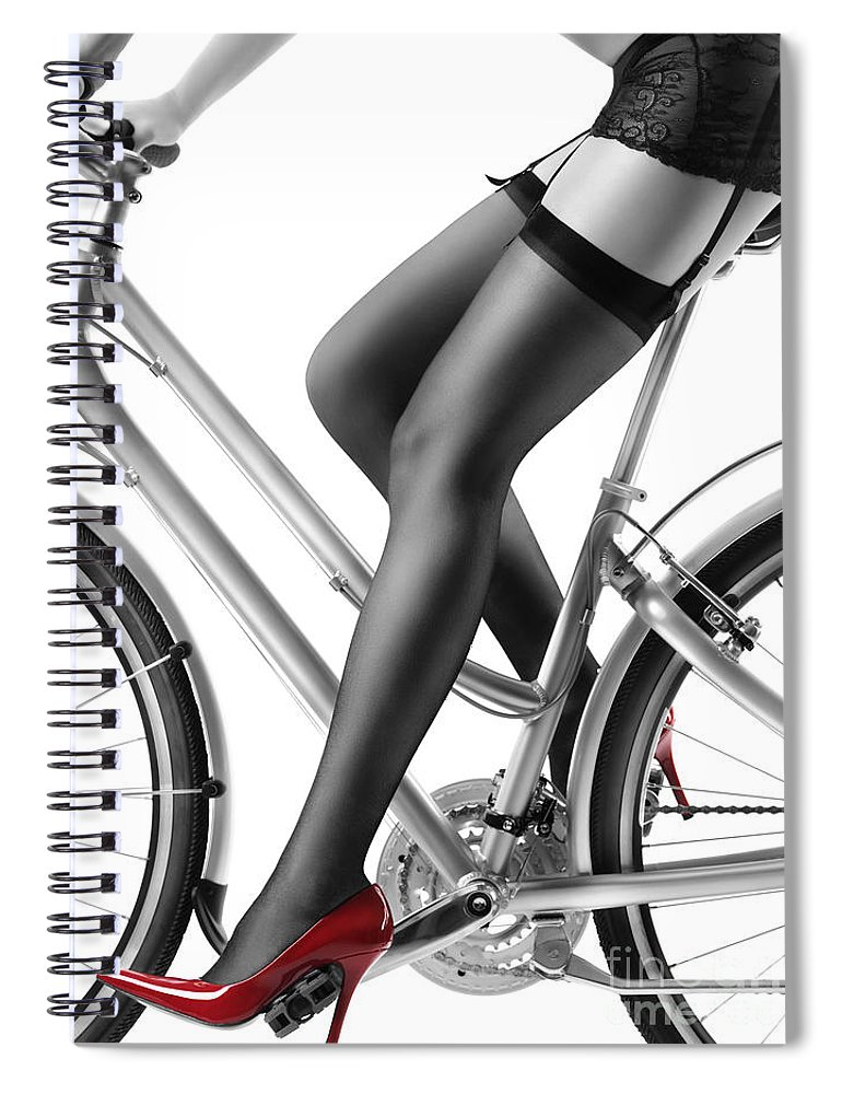 8e453705da2 Sexy Woman In Red High Heels And Stockings Riding Bike Spiral Notebook for  Sale by Maxim Images