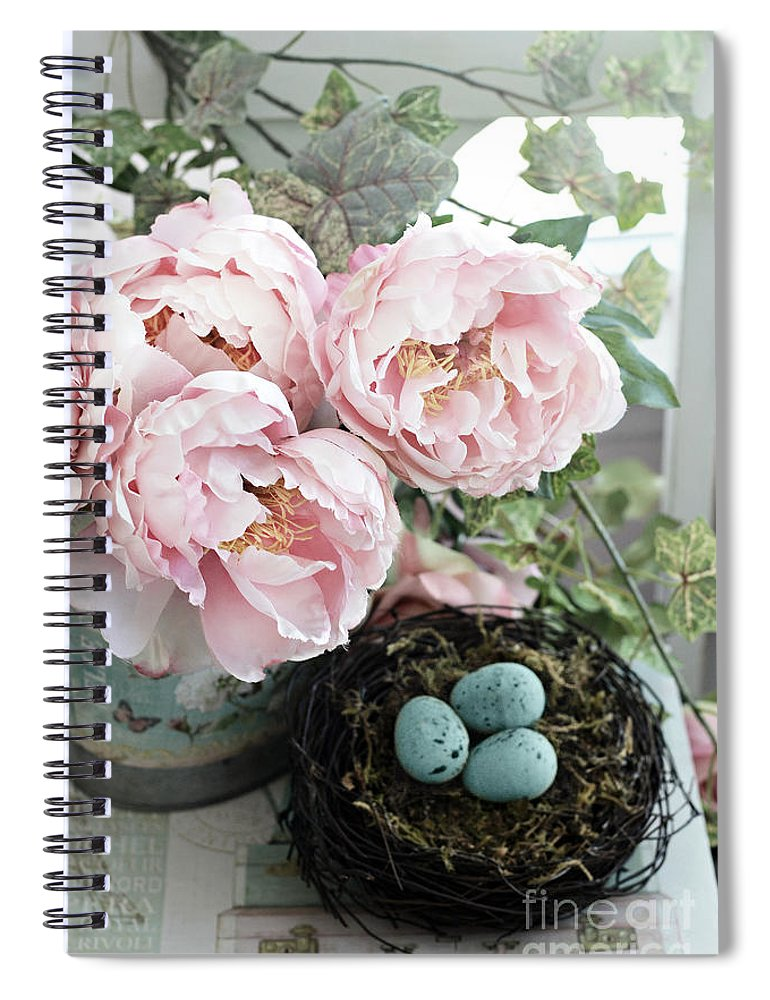 Peony Spiral Notebook featuring the photograph Shabby Chic Peonies With Bird Nest Robins Eggs - Summer Garden Peonies by Kathy Fornal
