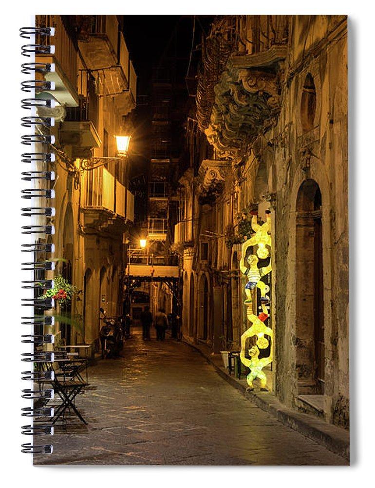 Georgia Mizuleva Spiral Notebook featuring the photograph Shabby Chic - Small Street Night Walk In Syracuse Sicily by Georgia Mizuleva