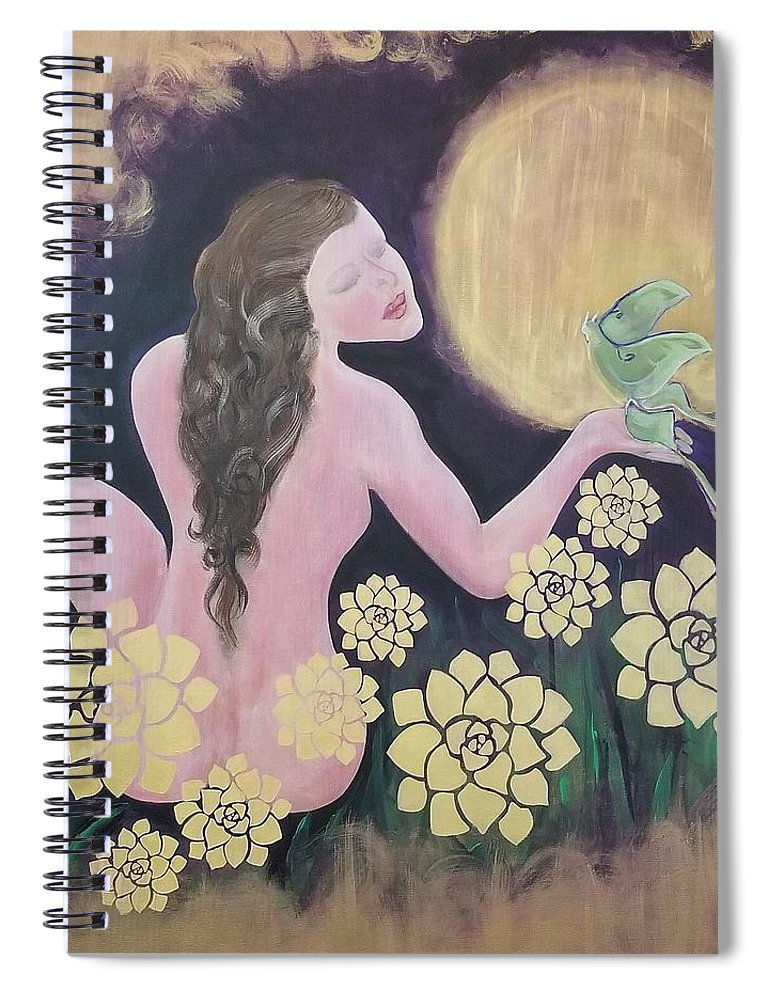 Woman Spiral Notebook featuring the painting Shared Beauty Under The Golden Moon by Ron Tango Jr