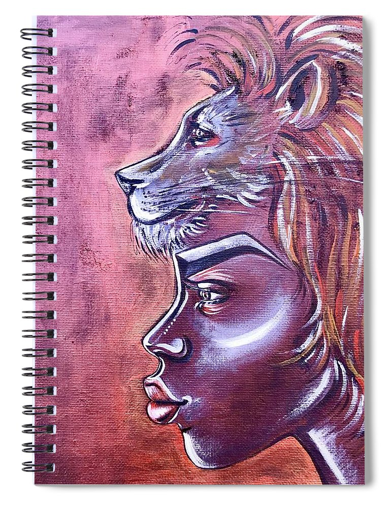 Lion Spiral Notebook featuring the painting She Has Goals by Artist RiA