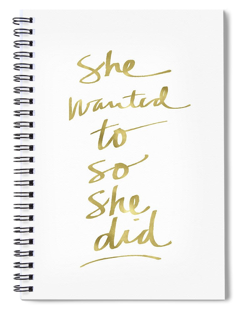 Female Athlete Spiral Notebook featuring the painting She Wanted To So She Did Gold- Art by Linda Woods by Linda Woods