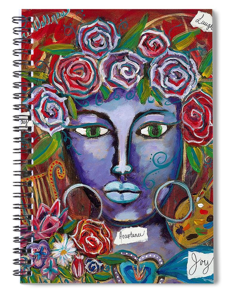 Lady Spiral Notebook featuring the painting She Who Restores Wellness by Evelyne Verret