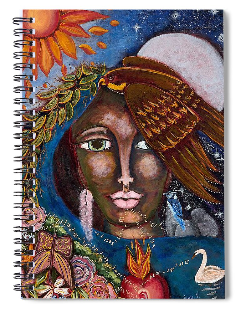 Falcon Spiral Notebook featuring the painting She Who Talks Every Languages by Evelyne Verret