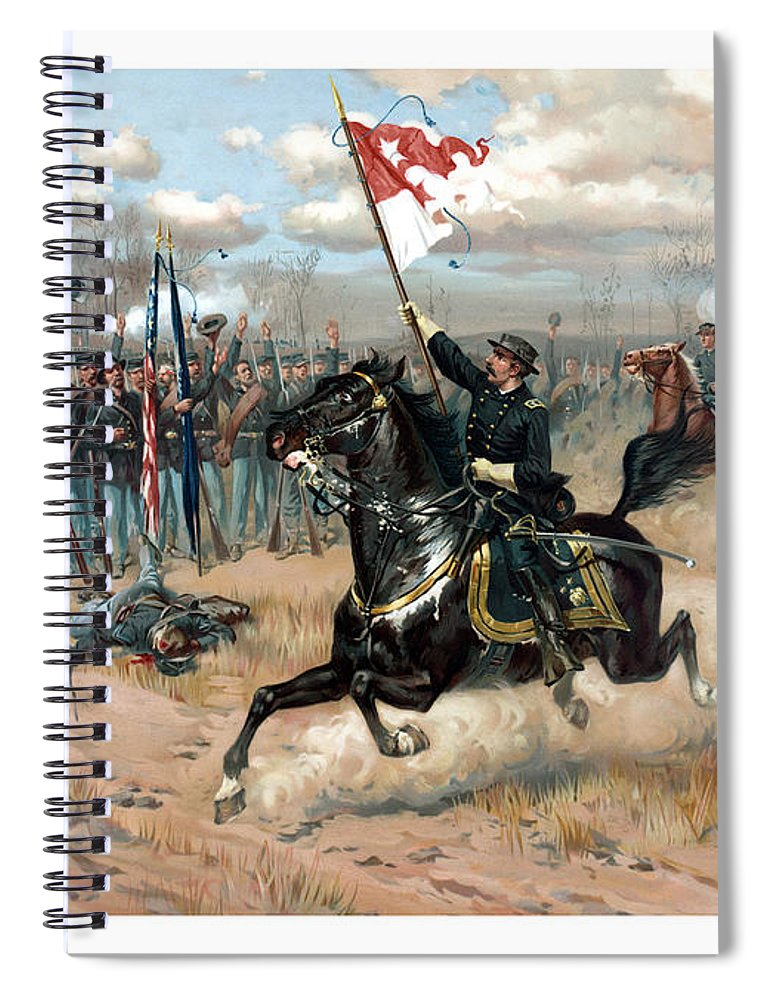 Sheridans Ride Spiral Notebook featuring the painting Sheridan's Ride by War Is Hell Store