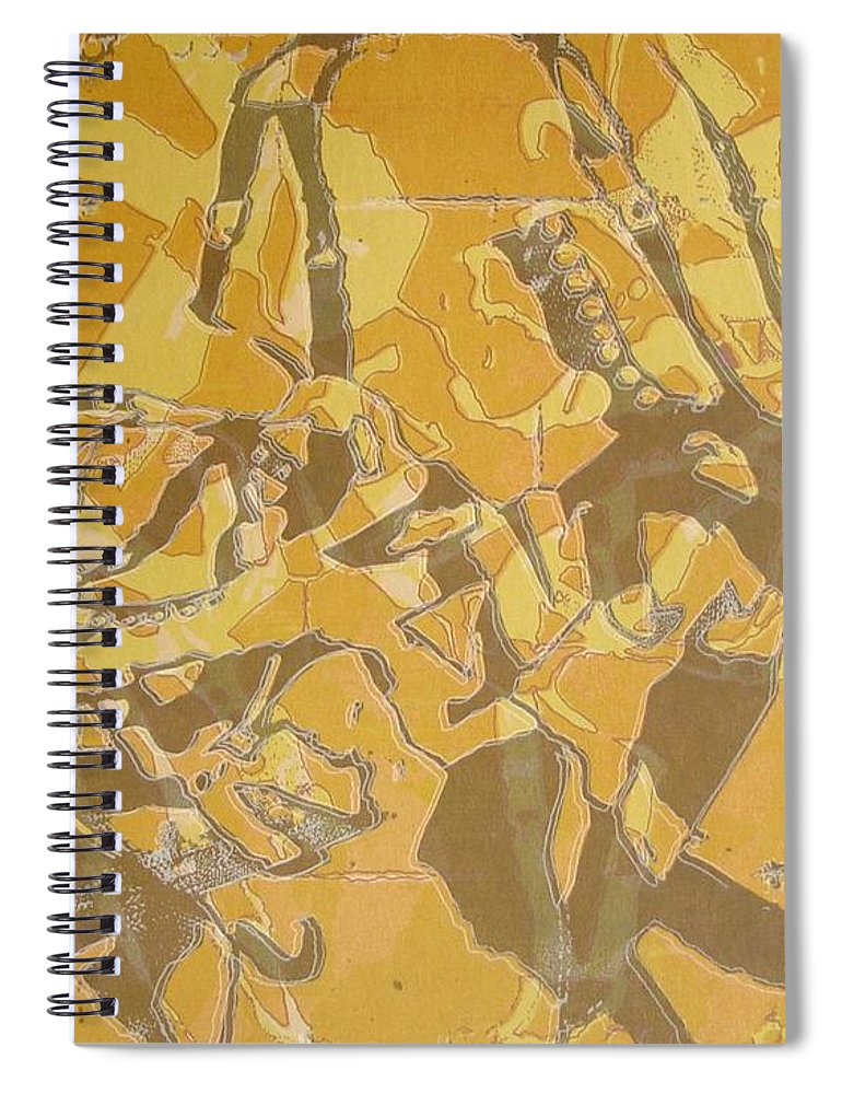 Abstract Spiral Notebook featuring the digital art Shredded Notebook Stencil by Ron Bissett