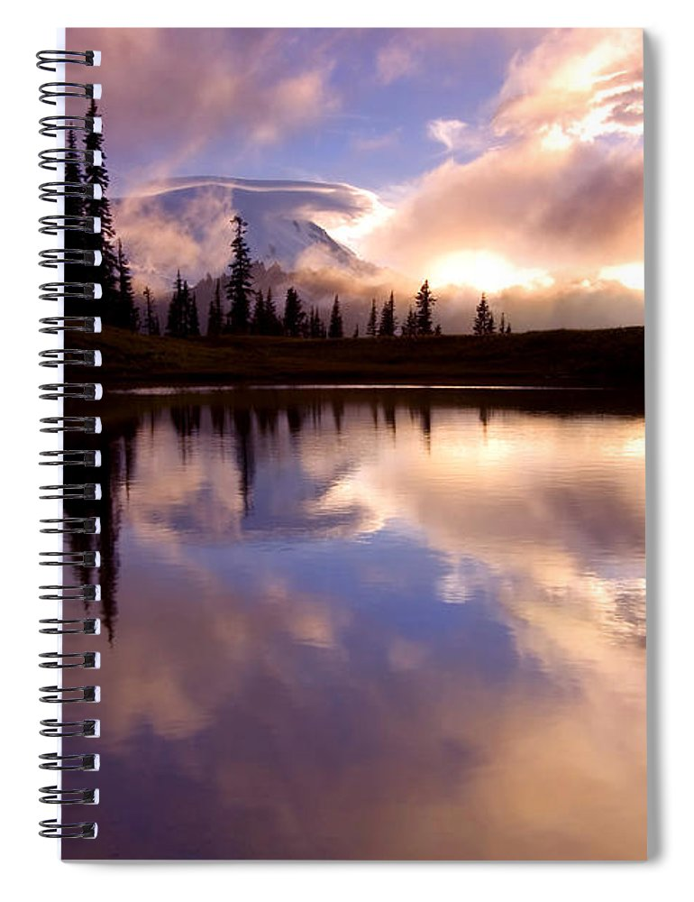 Rainier Spiral Notebook featuring the photograph Shrouded In Clouds by Mike Dawson