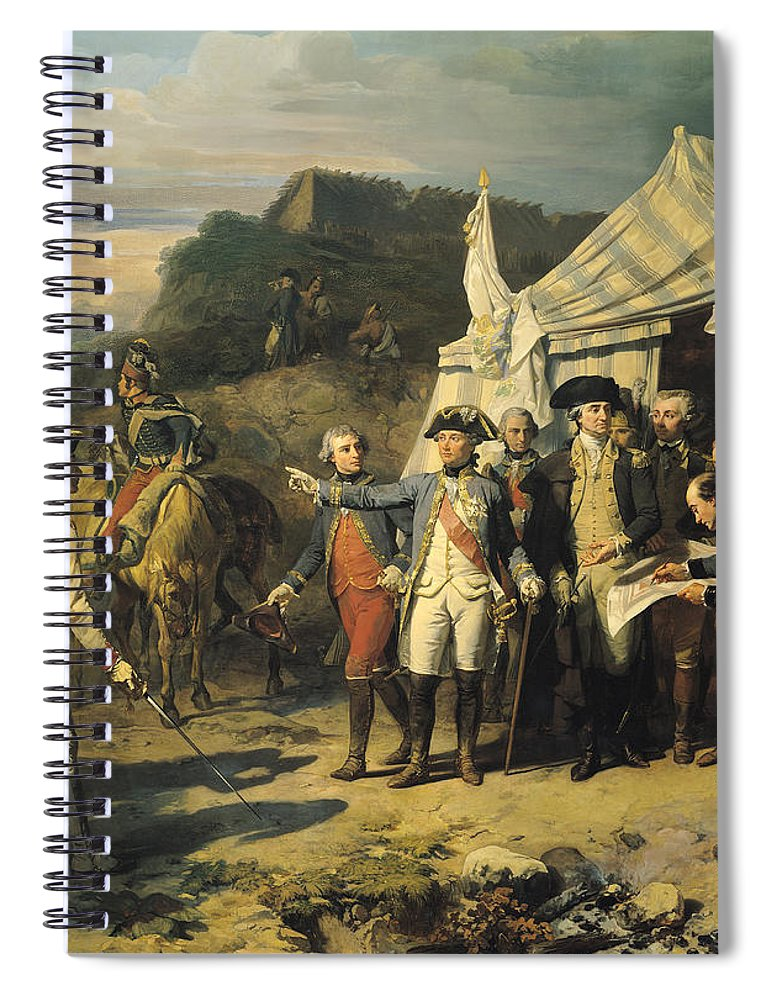 Siege Spiral Notebook featuring the painting Siege Of Yorktown by Louis Charles Auguste Couder