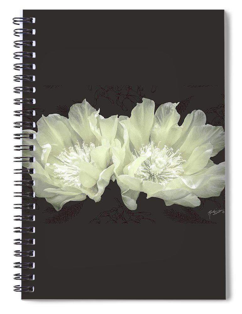 Flower Spiral Notebook featuring the mixed media Silent Night by Rosalie Scanlon