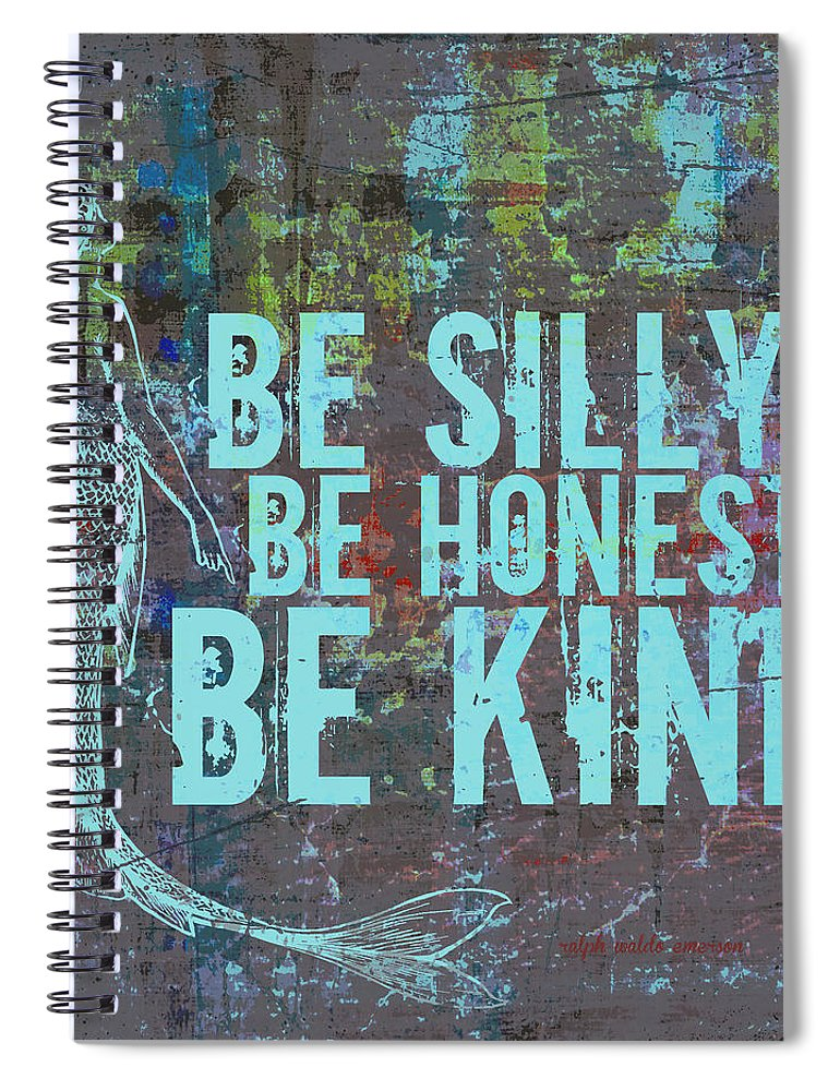 Brandi Fitzgerald Spiral Notebook featuring the digital art Silly Honest Kind Mermaid by Brandi Fitzgerald