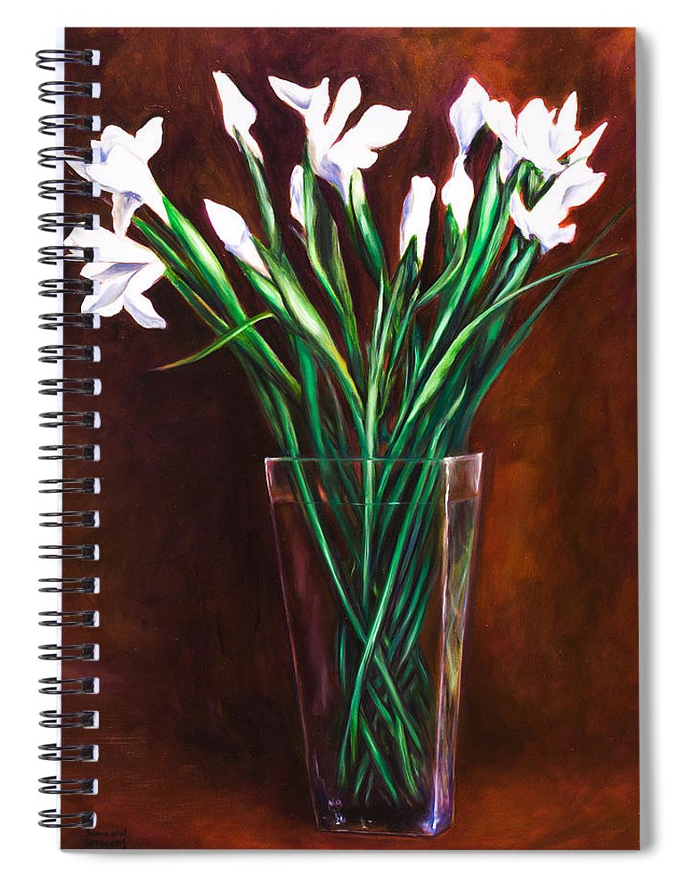 Iris Spiral Notebook featuring the painting Simply Iris by Shannon Grissom