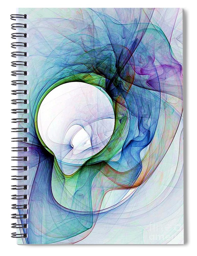 Smoke Spiral Notebook featuring the digital art Simulated Colored Smoke by Ron Bissett