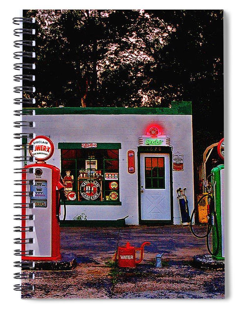 Gas Station Spiral Notebook featuring the photograph Sinclair by Steve Karol