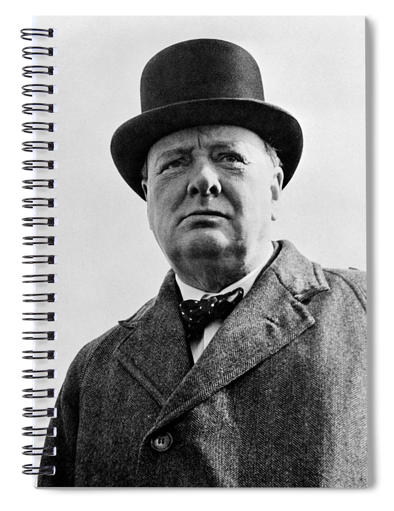 Wwii Spiral Notebook featuring the photograph Sir Winston Churchill by War Is Hell Store