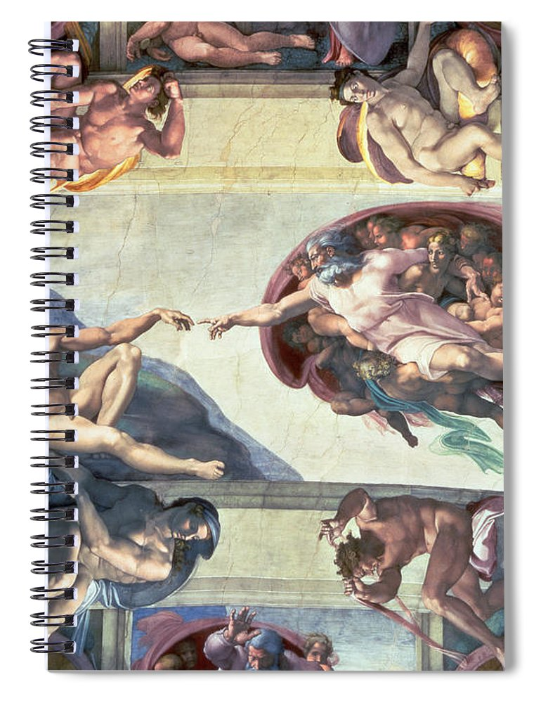 Sistine Spiral Notebook featuring the painting Sistine Chapel Ceiling Creation Of Adam by Michelangelo