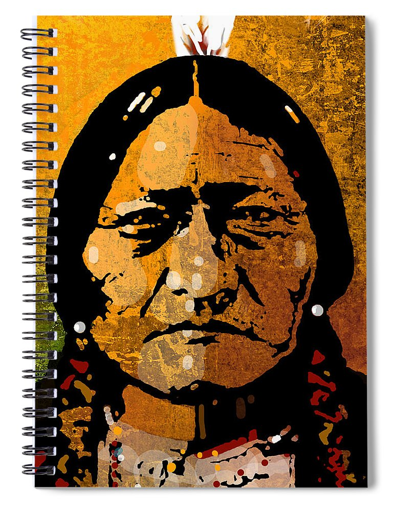 Native American Spiral Notebook featuring the painting Sitting Bull by Paul Sachtleben