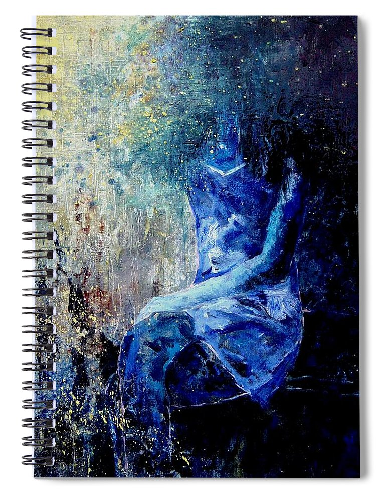 Woman Girl Fashion Spiral Notebook featuring the painting Sitting Young Girl by Pol Ledent