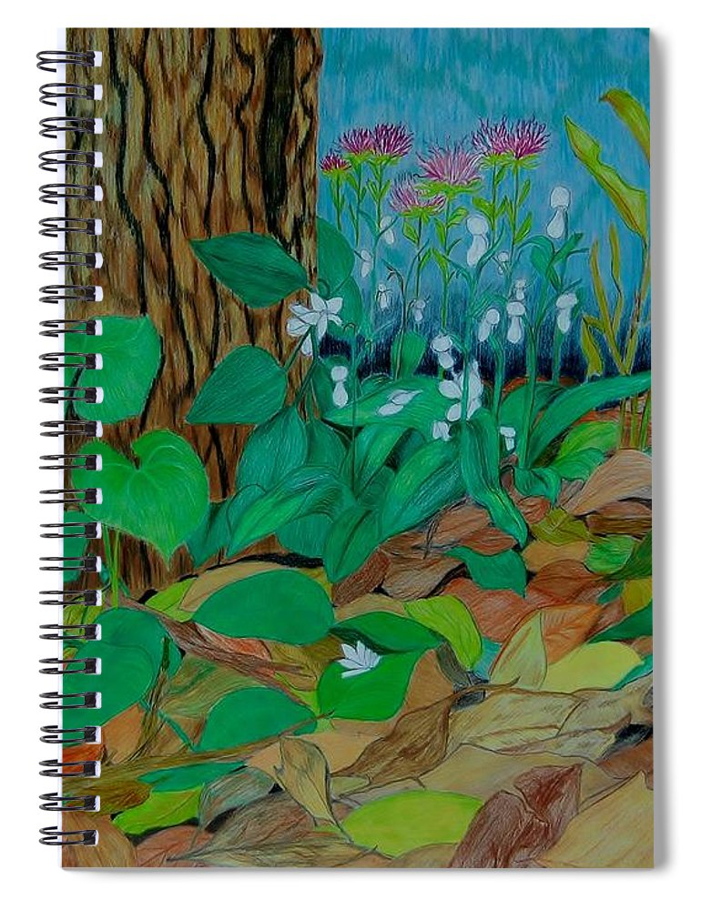 Tree Spiral Notebook featuring the mixed media Six in hiding by Charla Van Vlack