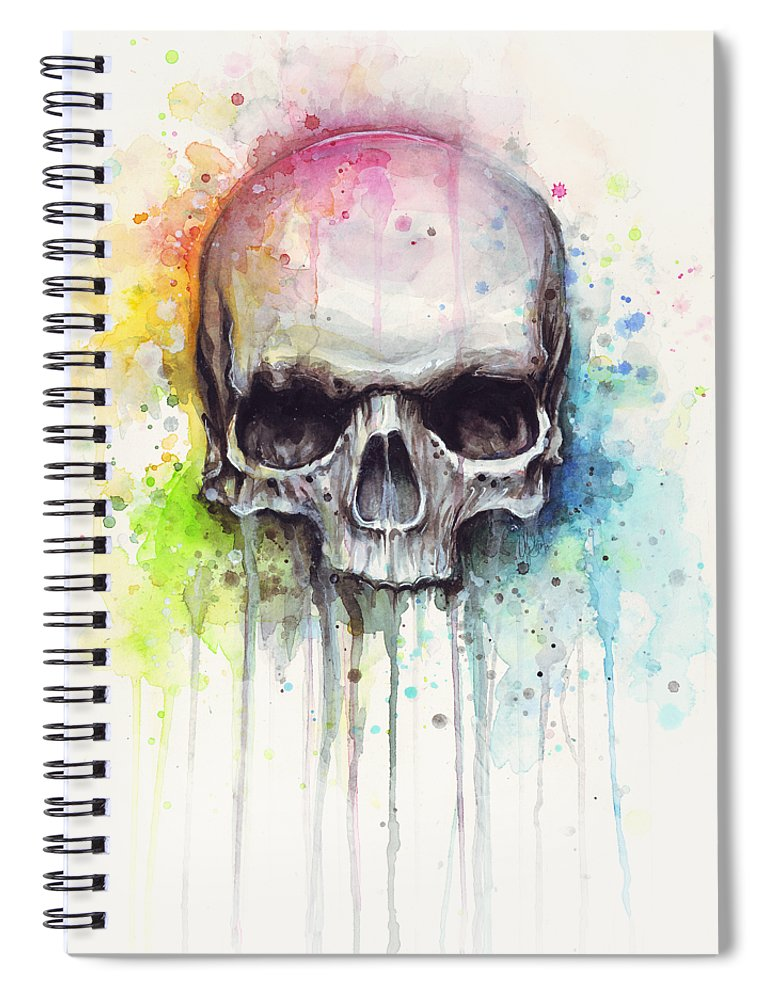 Skull Spiral Notebook featuring the painting Skull Watercolor Painting by Olga Shvartsur