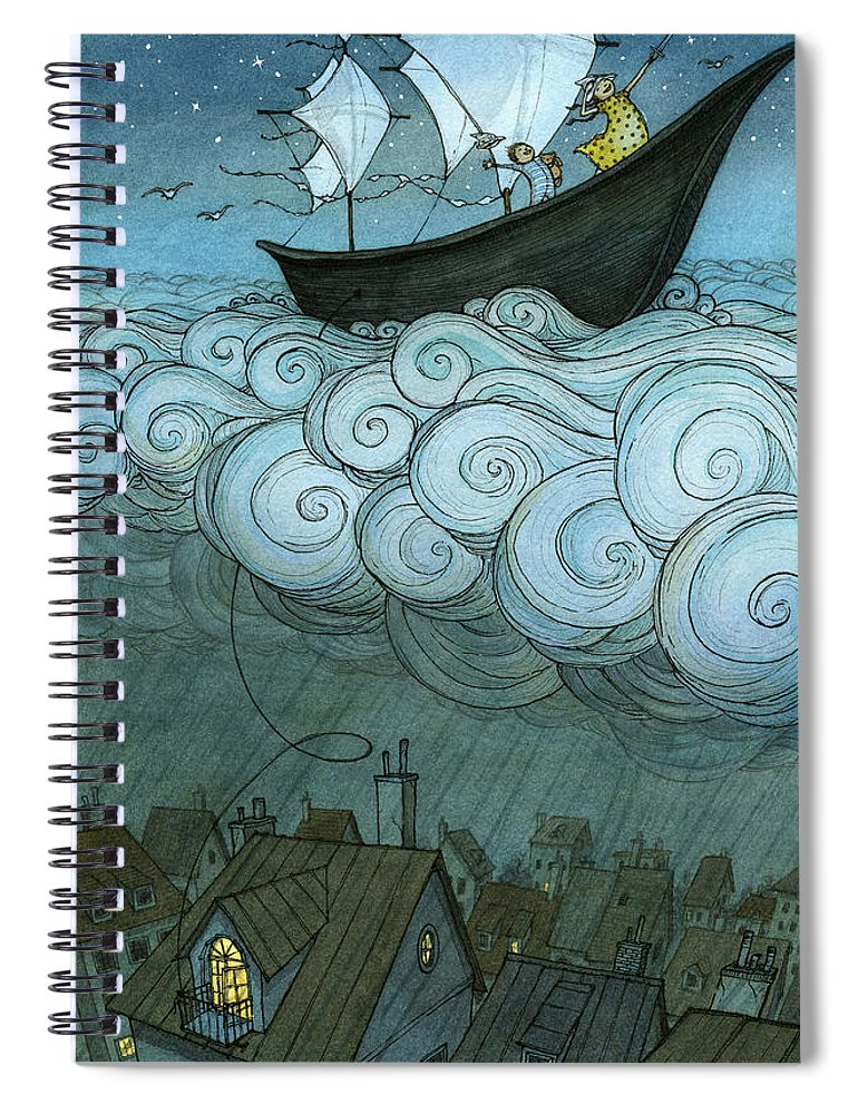 Spiral Notebook featuring the drawing Sky Sailing by Eliza Wheeler