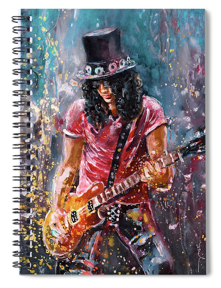 Music Spiral Notebook featuring the painting Slash by Miki De Goodaboom