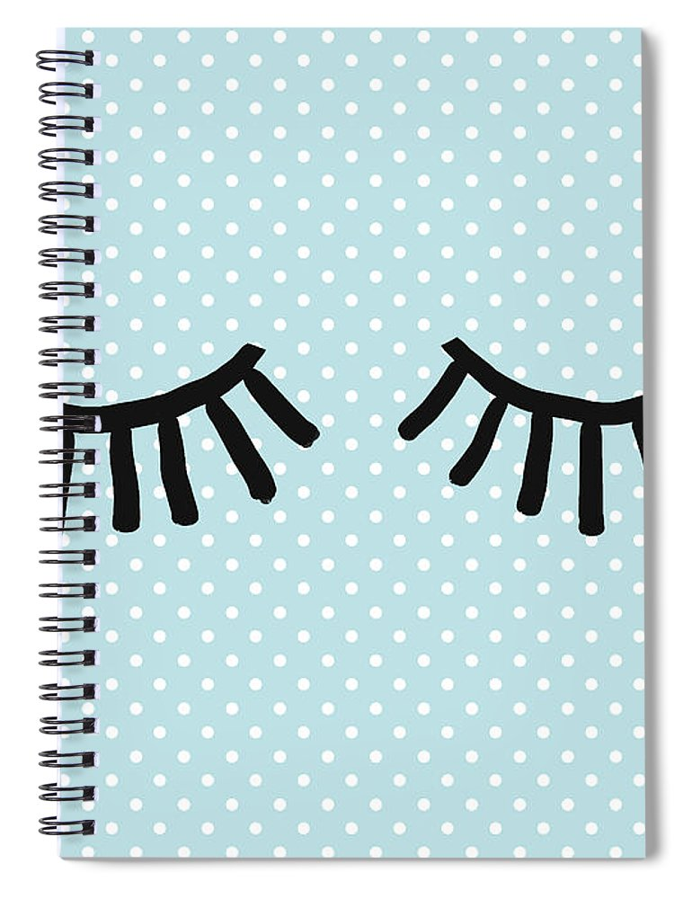 Eyes Spiral Notebook featuring the mixed media Sleepy Eyes And Polka Dots Blue- Art By Linda Woods by Linda Woods