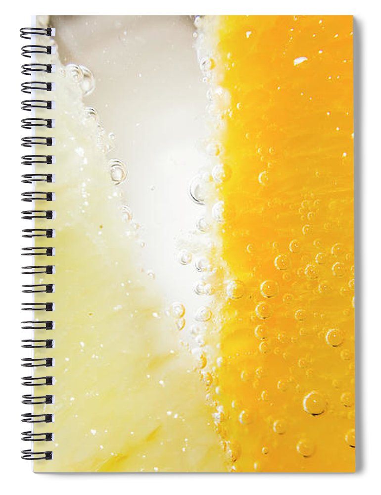 Closeup Spiral Notebook featuring the photograph Slice Of Orange And Lemon In Cocktail Glass by Jorgo Photography - Wall Art Gallery