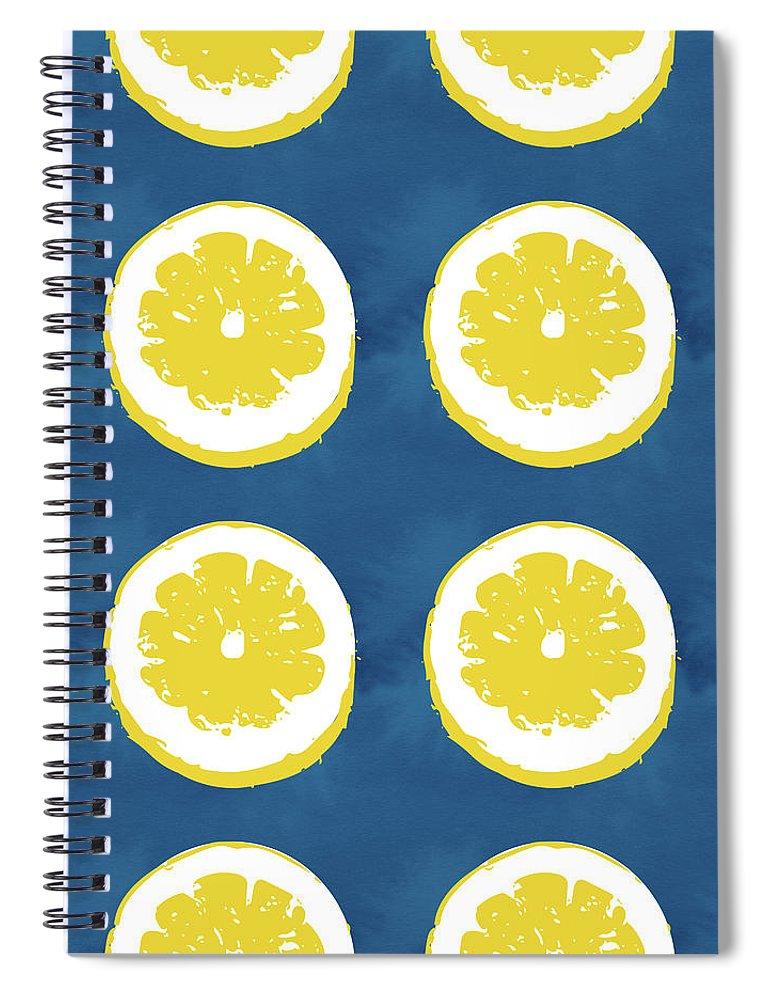 Lemons Spiral Notebook featuring the mixed media Sliced Lemons On Blue- Art By Linda Woods by Linda Woods