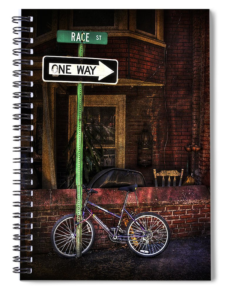 Arrow Spiral Notebook featuring the photograph Slow Down On The Race Street by Evelina Kremsdorf