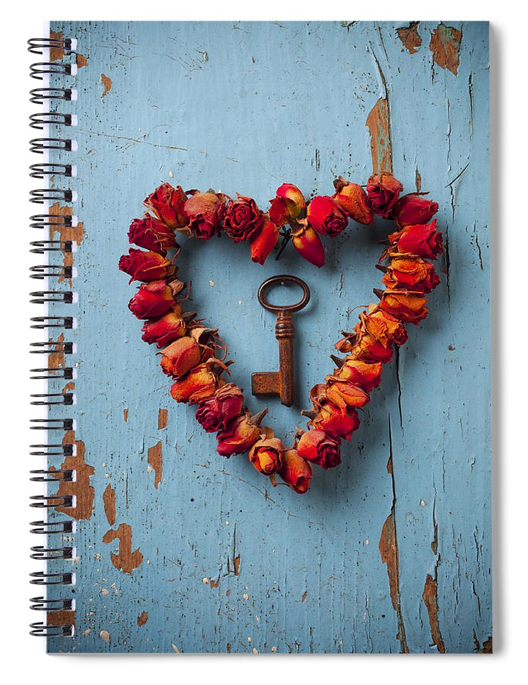 Love Rose Heart Wreath Key Spiral Notebook featuring the photograph Small rose heart wreath with key by Garry Gay