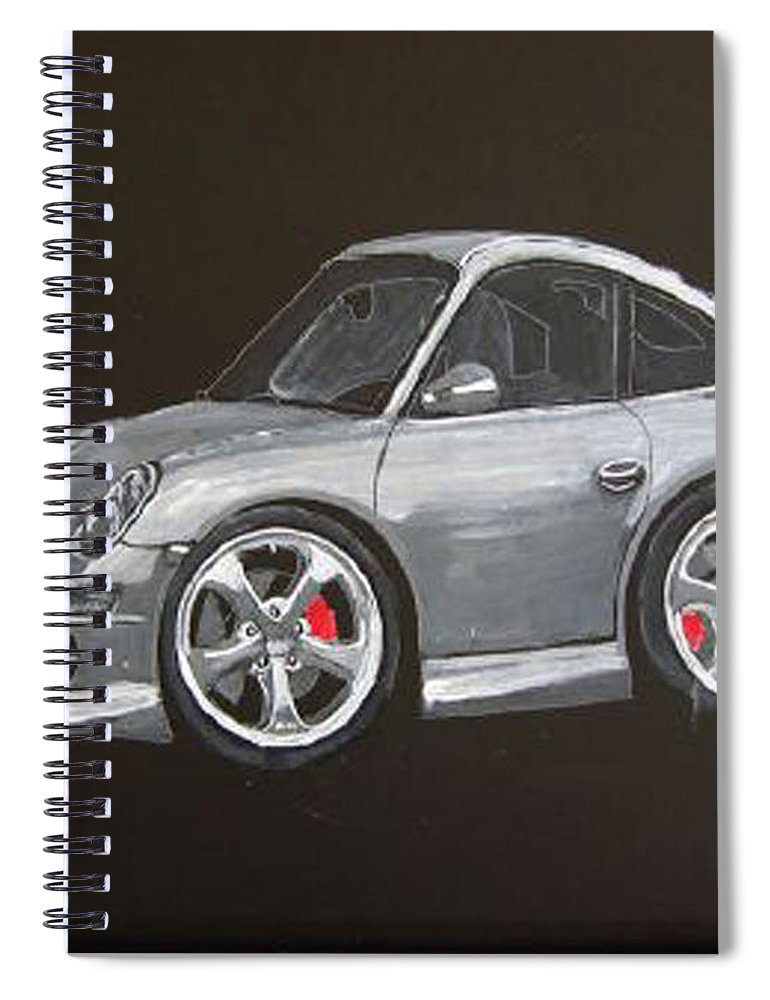 Car Spiral Notebook featuring the painting Smart Porsche by Richard Le Page