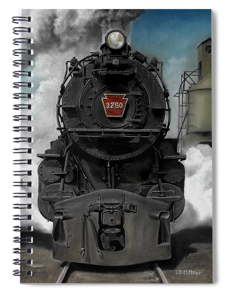 Trains Spiral Notebook featuring the painting Smoke and Steam by David Mittner