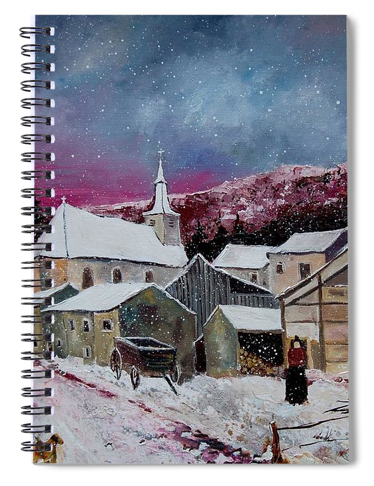 Snow Spiral Notebook featuring the painting Snow Is Falling by Pol Ledent