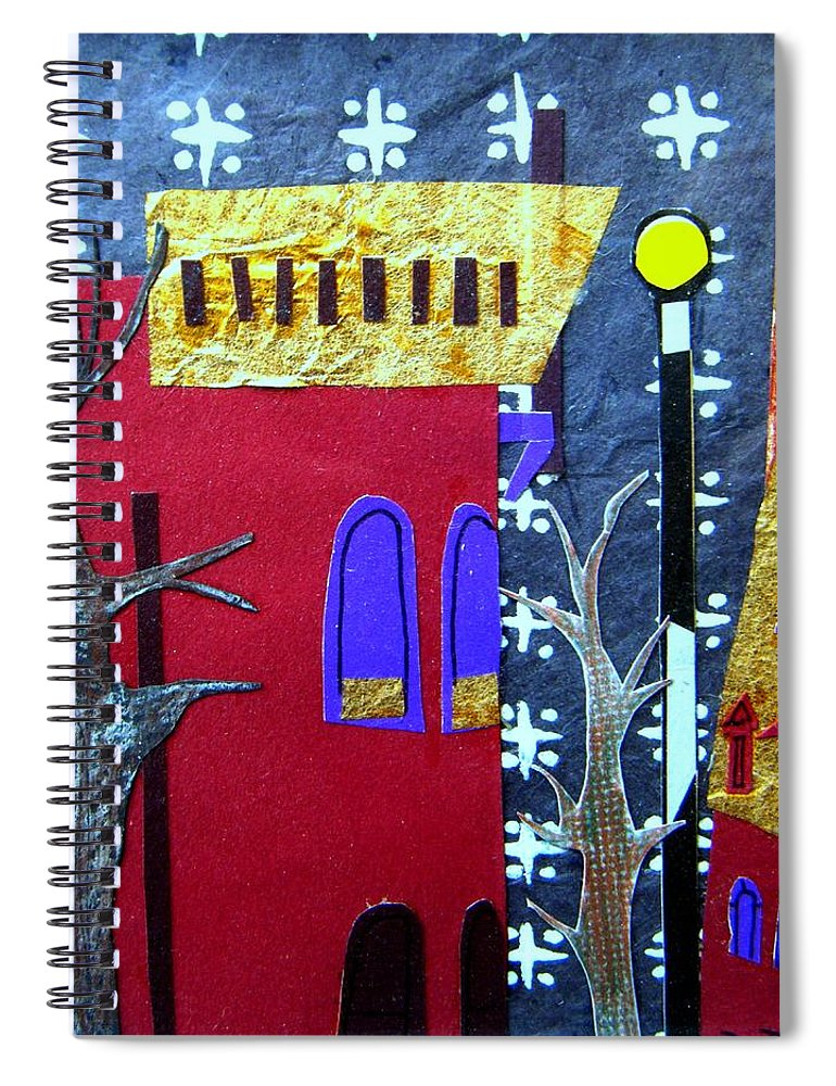 City Spiral Notebook featuring the mixed media Snowstorm Backbay by Debra Bretton Robinson