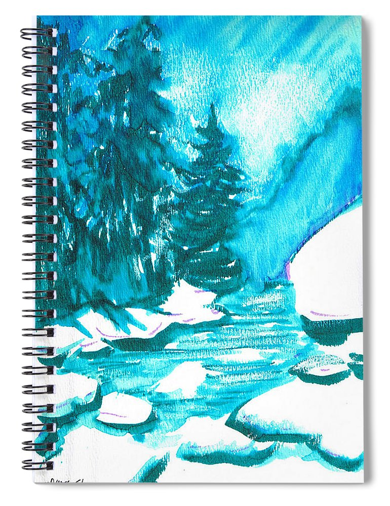 Chilling Spiral Notebook featuring the mixed media Snowy Creek Banks by Seth Weaver