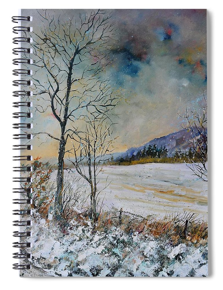 Landscape Spiral Notebook featuring the painting Snowy landscape by Pol Ledent