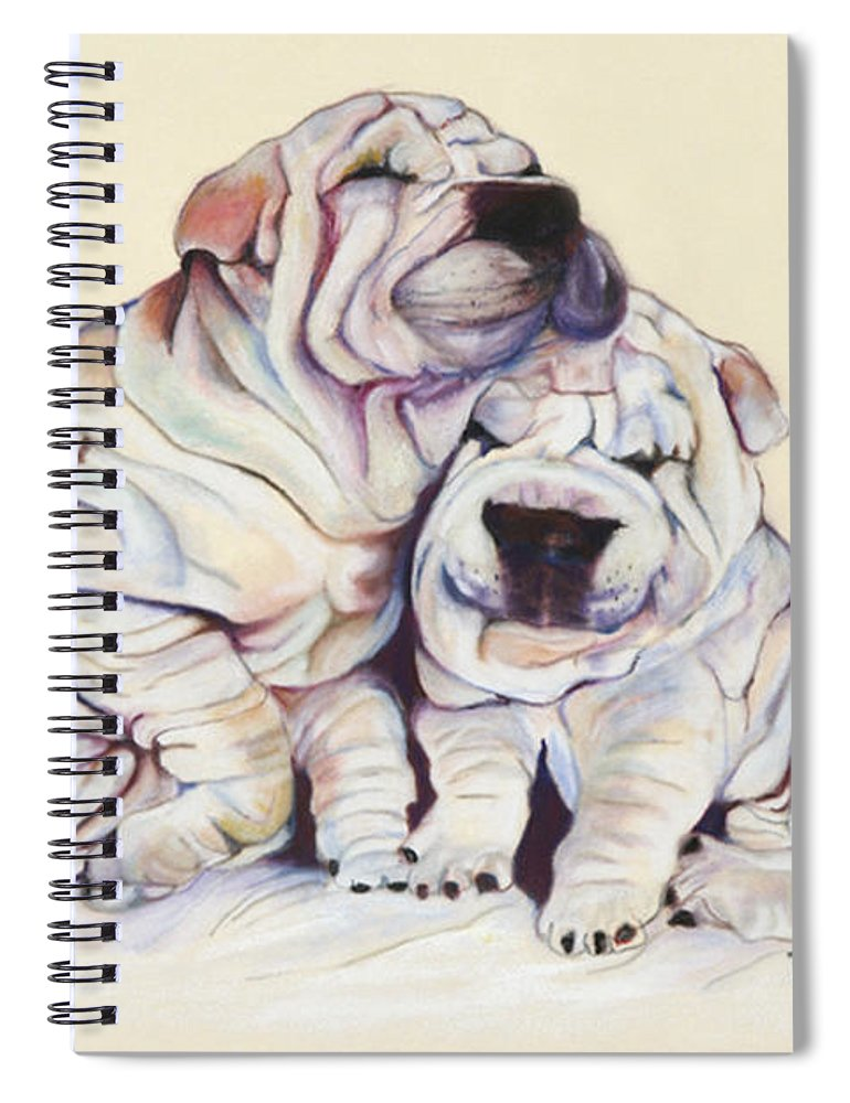 Dog Painting Spiral Notebook featuring the pastel Snuggles by Pat Saunders-White