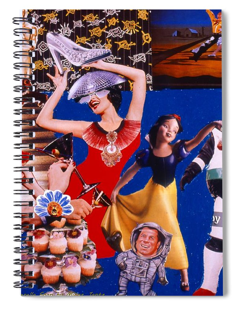 Surreal Spiral Notebook featuring the drawing Soap Scene #23 Oscar's Kiss of Success by Minaz Jantz