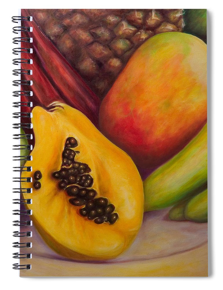 Tropical Fruit Still Life: Mangoes Spiral Notebook featuring the painting Solo by Shannon Grissom