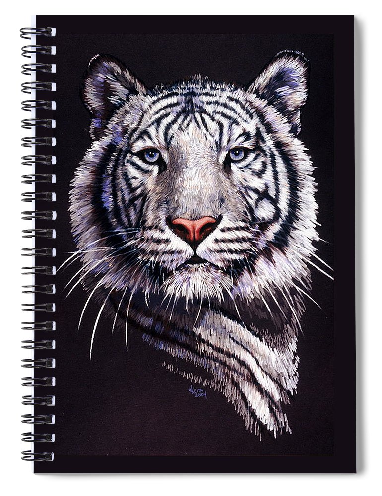Tiger Spiral Notebook featuring the drawing Sorcerer by Barbara Keith