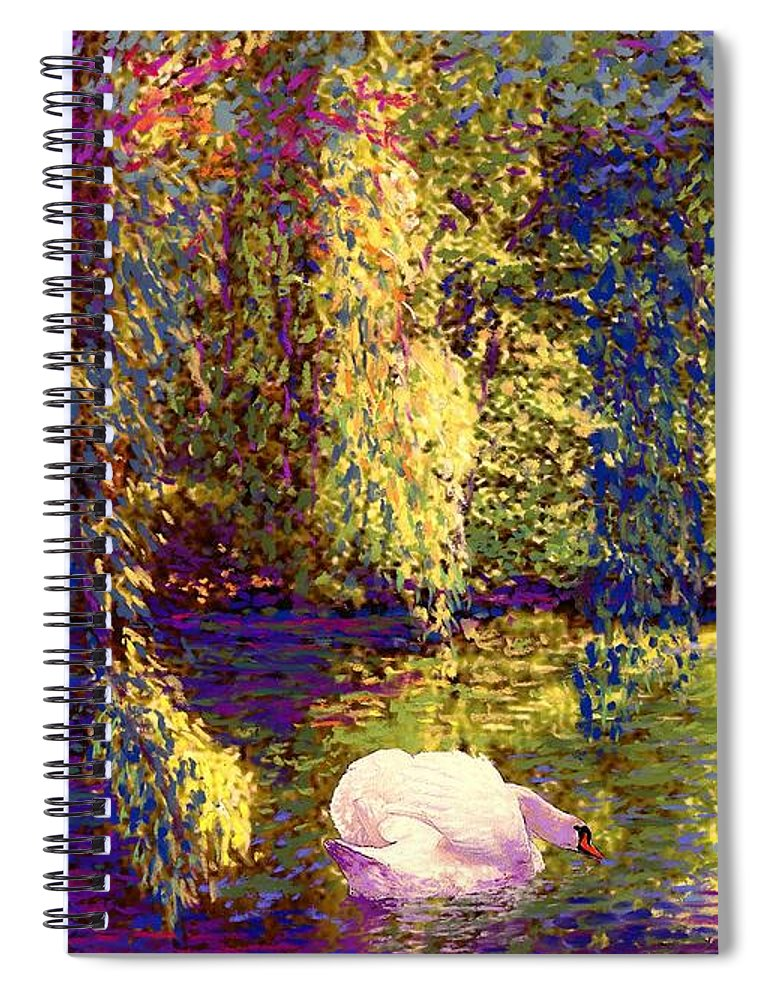 Spring Spiral Notebook featuring the painting Swans, Soul Mates by Jane Small