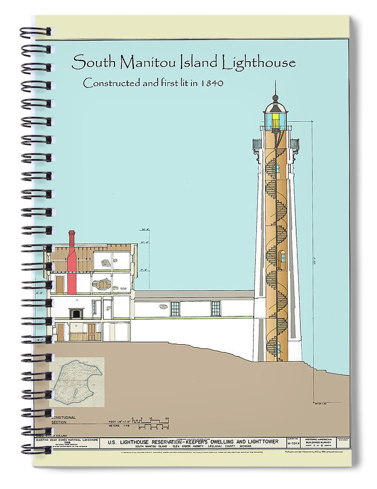 South Manitou Island Lighthouse Spiral Notebook featuring the drawing South Manitou Island Lighthouse Color Drawing by Jerry McElroy