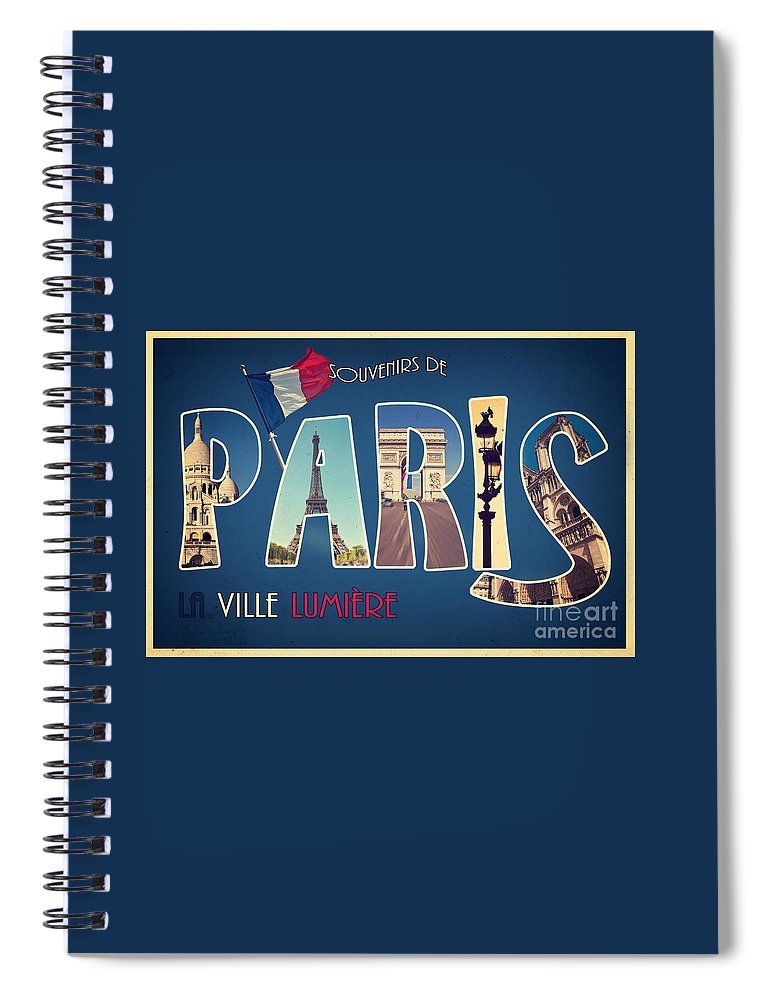 Paris Spiral Notebook featuring the mixed media Souvernirs De Paris by Delphimages Photo Creations