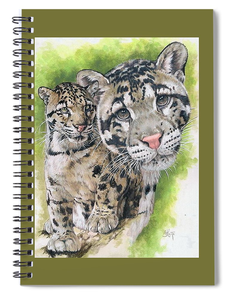 Clouded Leopard Spiral Notebook featuring the mixed media Sovereignty by Barbara Keith